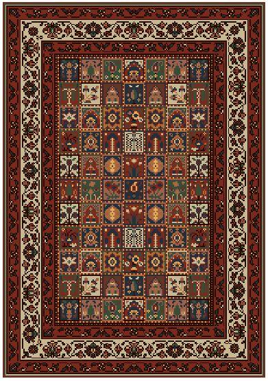 Grille tapis jardin Bakhtiari, Perse, 19ième siècle