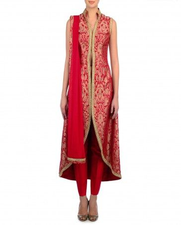 Vermillion Red Brocade Jacket Style Suit