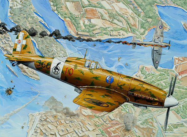 Macchi Painting - Victory Over Malta by Charles Taylor