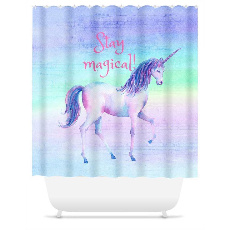 """Stay Magical, Rainbow, Unicorn, Shower Curtain, 71"""" (W) x 74"""" (L), Custom Shower Curtain, Funny Shower Curtain, Funny Bathroom Decor"""