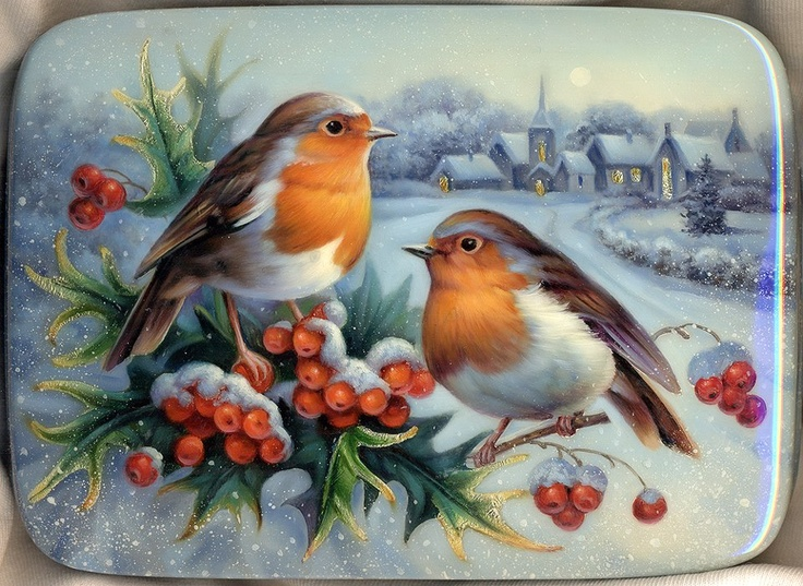"۞ ۩ Russian Lacquer Art ""Bullfinches"" Artist: Gavrilov Oleg Size: 14x11x2.5 ....They look like Robins to me!"