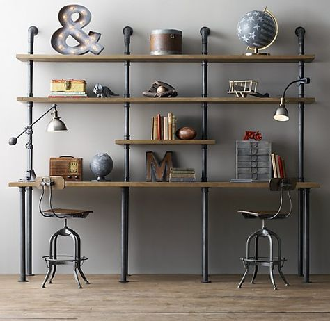 Industrial Pipe Shelving | The House that A-M Built - Restoration Hardware