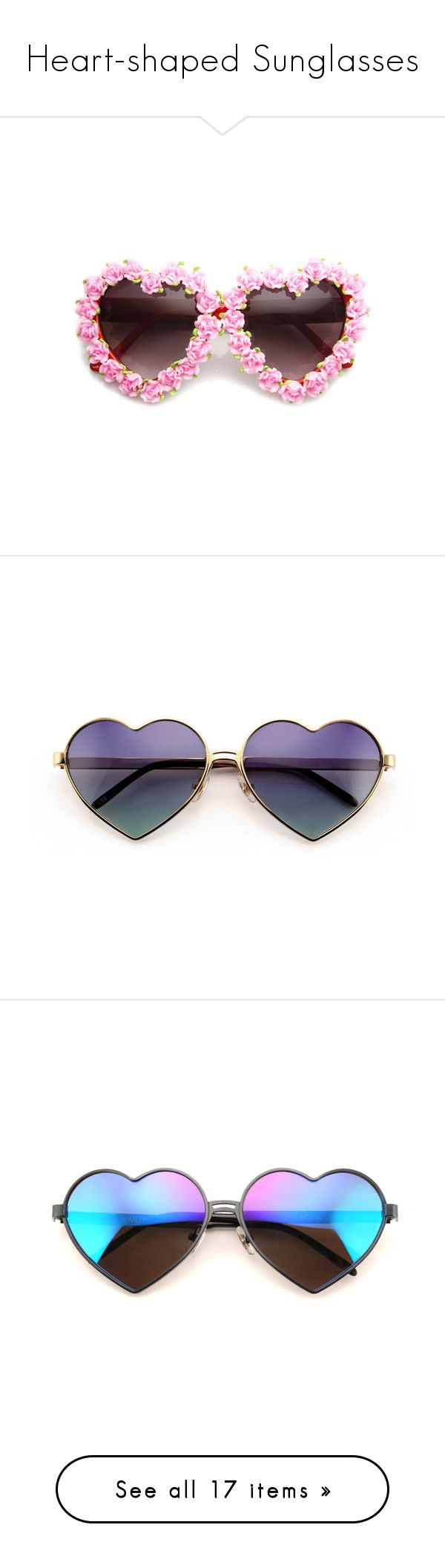 """""""Heart-shaped Sunglasses"""" by emmas-fashion-diary ❤ liked on Polyvore featuring accessories, eyewear, sunglasses, glasses, fillers, beach sunglasses, summer sunglasses, summer glasses, eyeglasses and lens glasses"""