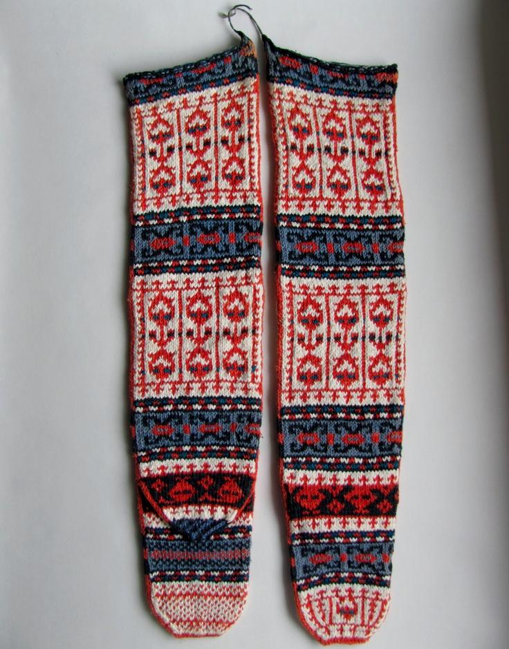 Pair of VINTAGE Handmade Knitted Folk Art TURKISH SOCKS!