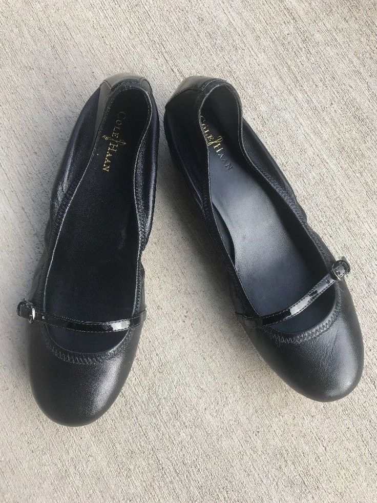 Cole Haan AIR GEL Women's Black Leather Patent Trim Wedge Loafers 7B Shoes  | eBay