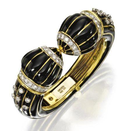 18 karat gold, enamel and diamond bangle-bracelet, David Webb