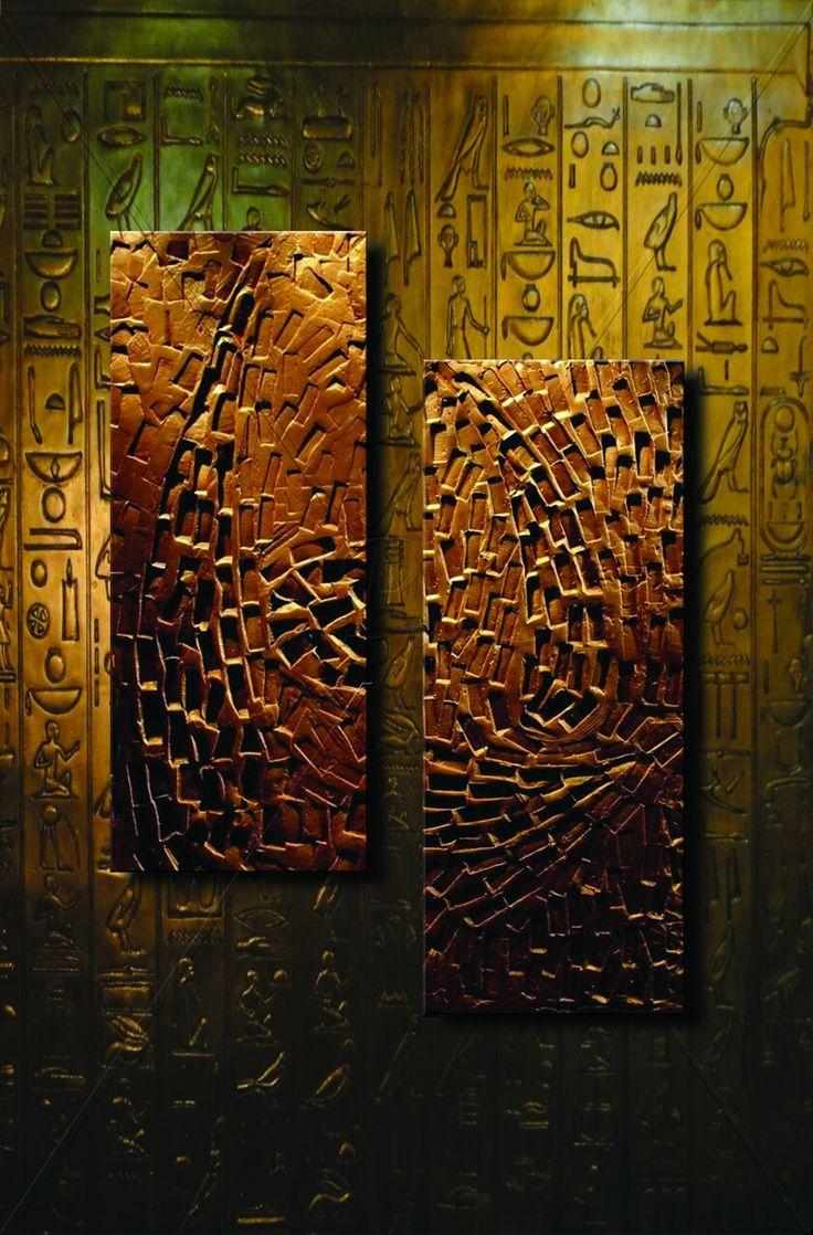 Farkındalık / Awareness '' Sol/Left: 86×38 cm Sağ/Right: 100×38 cm Teknik: Rölyef / Akrilik Boya ve Bronz Patine - Technique: Relief / Acrylic Paint and Bronze Patina ''