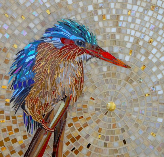 Art Print Malachite kingfisher, resting after some fishing! The original mosaic was made from glass, lots of it iridescent to capture the