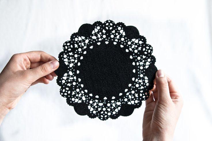 Black felt potholder, doily design by Touchee Feelee for sale on http://hellopretty.co.za