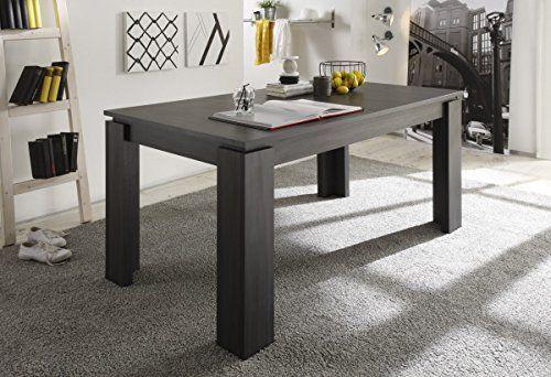 Dreams4Home Esstisch 'Lenon' Esszimmer ausziehbarer Tisch Küche in verschiedenen Farbausführungen Holznachbildung, Farbe:Esche grau