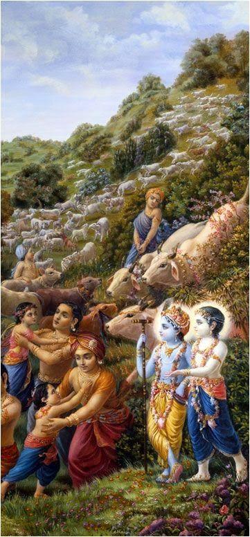 Shri Krishna, Balram and Brajwasi on Govardhan