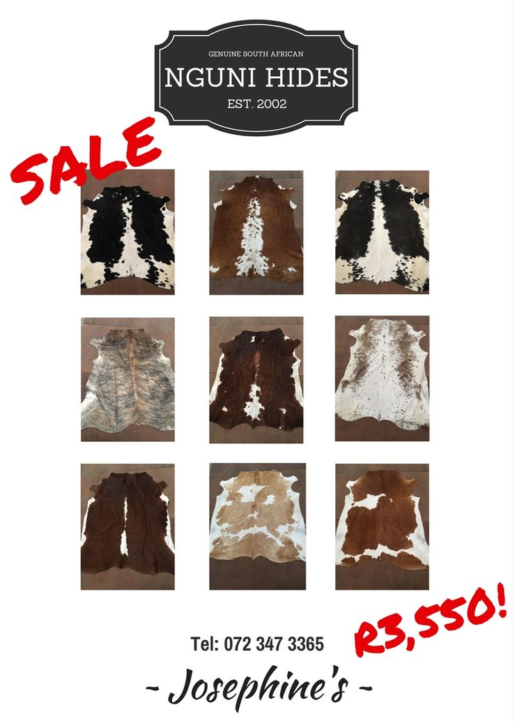 Nguni Hides Sale - Prices from R3,150 - R3,550 per hide. Email: sales@josephines.co.za