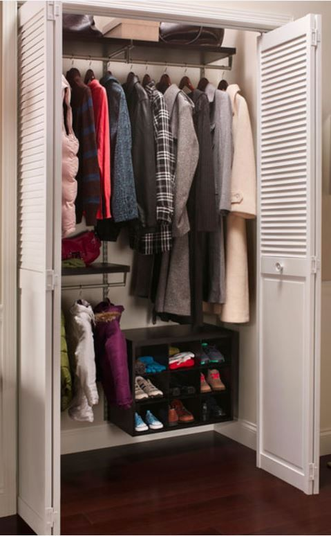 Installing ClosetMaid ShelfTrack Elite In A Coat Closet Creates Plenty Of  Storage For Shoes And Outerwear, Eliminating Clutter In The Entryway.