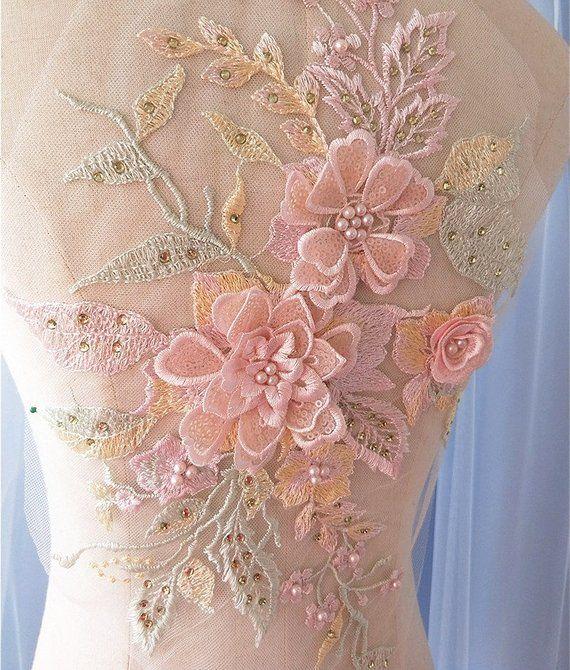 566edb744cdf5 pink pastel 3D Sequin Beaded Flower Lace Applique for Bridal, Ballet ...