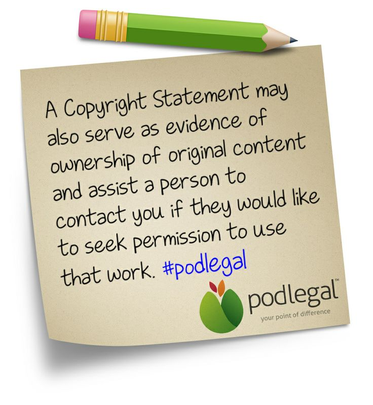 Copyright statements as evidence as ownership of copyright. #IP #copyright #podlegal