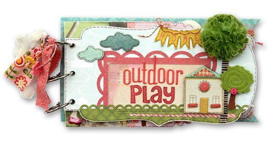"""Outdoor Play"" mini album by Suzy Plantamura for Creating Keepsakes magazine. #scrapbook #scrapbooking"
