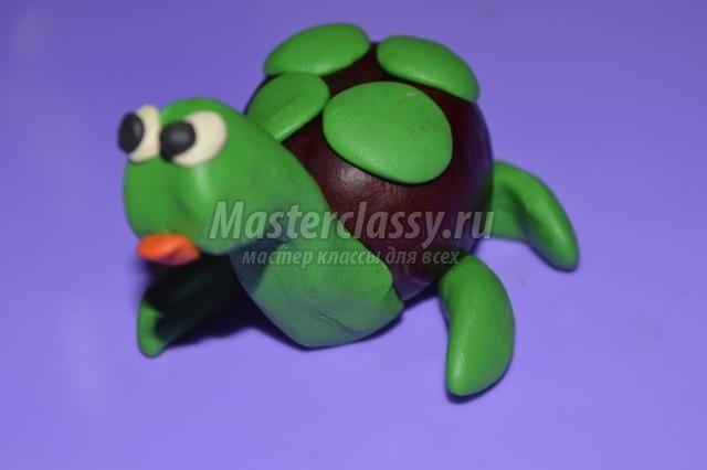 Поделки из каштанов и пластилина. Черепаха. Мастер-класс с пошаговыми фото