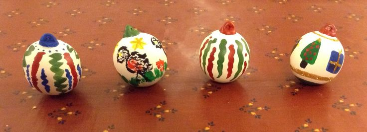 Paint your own baubles . . . made for an entertaining afternoon