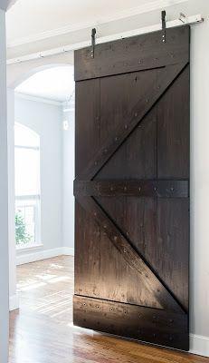 DIY Sliding barn Door. From scratch. Dark Espresso Wood Finish. Office entry door solution. # Industrial Office # Barndoor # modern office # modern industrial style
