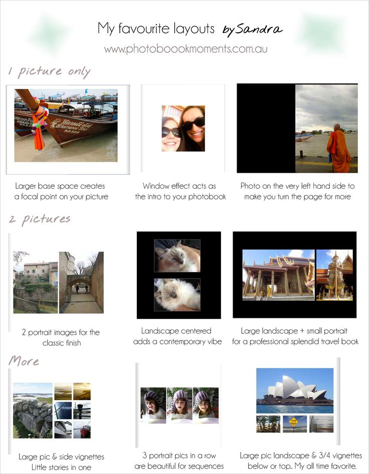 All my secrets to create a beautiful photo book. Here are my favourite layouts. Now you know it all ;) www.photobookmoments.com.au