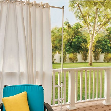 Railing Curtain Rod And 2 Posts Posts Outdoor Curtains And Curtain Rods