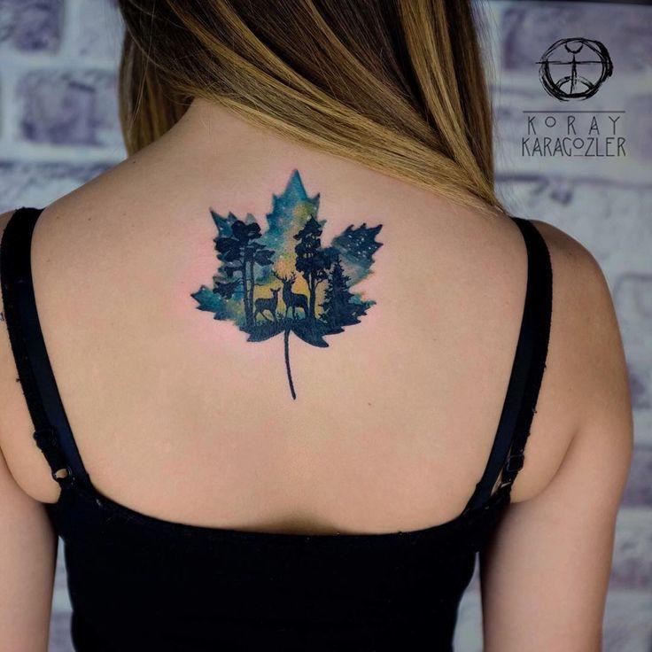 • T R U E • N O R T H • :maple_leaf:  #north #canada #watercolortattoo #watercolor #nature #naturelovers #koraykaragozler #abstract #abstracttattoo #koray_karagozler
