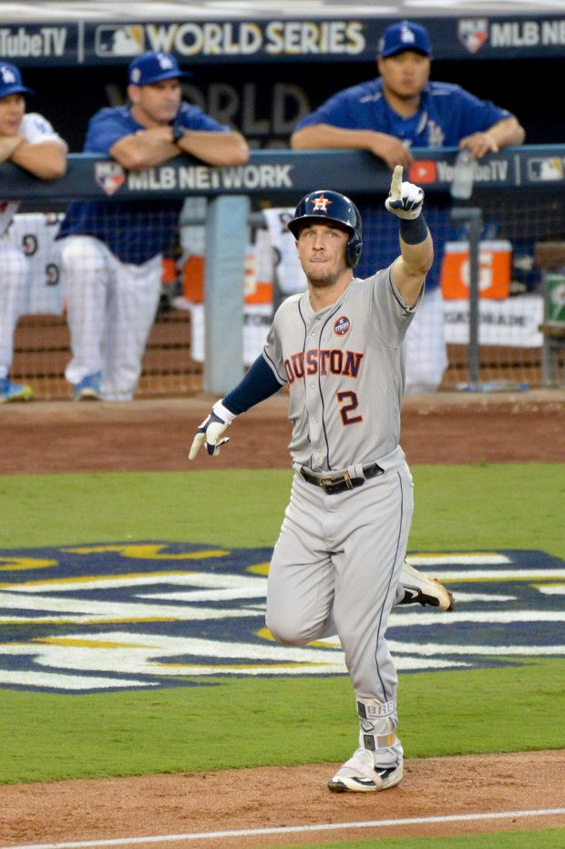 October 24, 2017:  Los Angeles Dodgers take on the Houston Astros Game 1 of the 2017 World Series. Astros Alex Bregman, #2, gave the Astros their only score with a homer during game one of the World Series at Dodger Stadium Tuesday, October 24, 2017. Dodgers won the game 3-1 to take a 1-0 lead in the series. ( Photo by David Crane, Los Angeles Daily News/SCNG)