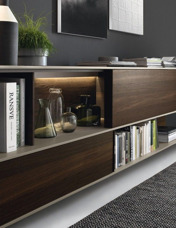 A Combination Of Open Shelves And Closed Cabinets For The Wall Unit · Living  Room ...