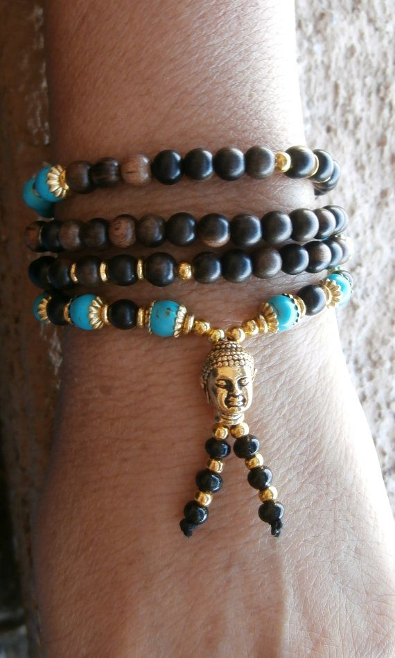 """Inner calm 108 Mala Necklace or bracelet with Tiger wood, Turquoise & Buddha Guru bead, Yoga Bracelet, Reiki."" free shipping>>>>    LifeForceEnergy      Balance your Body, Mind, Spirit & Home with Style"