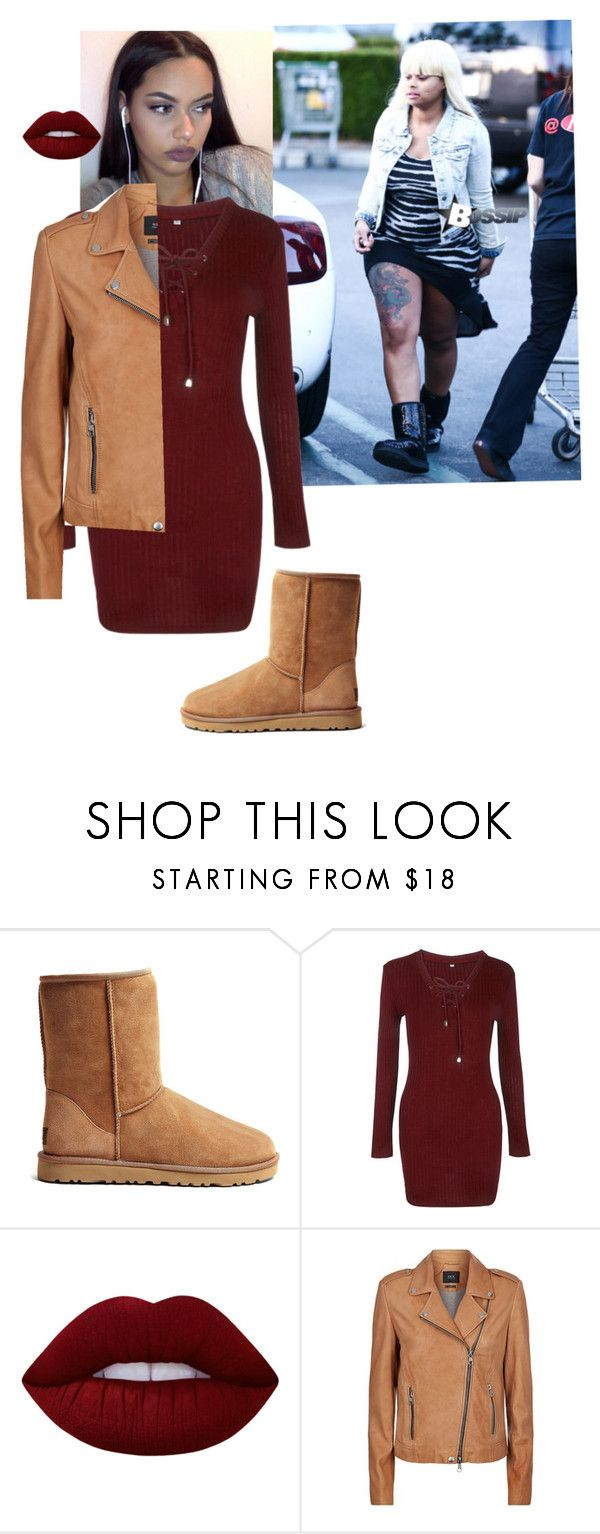 """""""Aftermath📝"""" by laylakristion on Polyvore featuring UGG Australia, WithChic, Lime Crime and SET"""