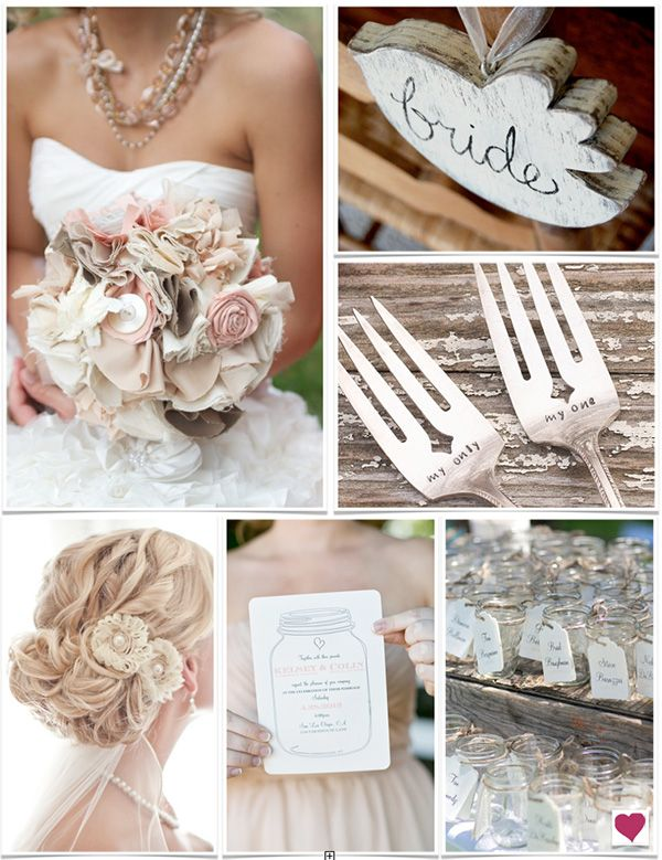 Hair And Bouquet Rustic Pink Shabby Chic Inspiration Board Via Heart Love Weddings Use Cream Candy Harvest Brown For C P Colors