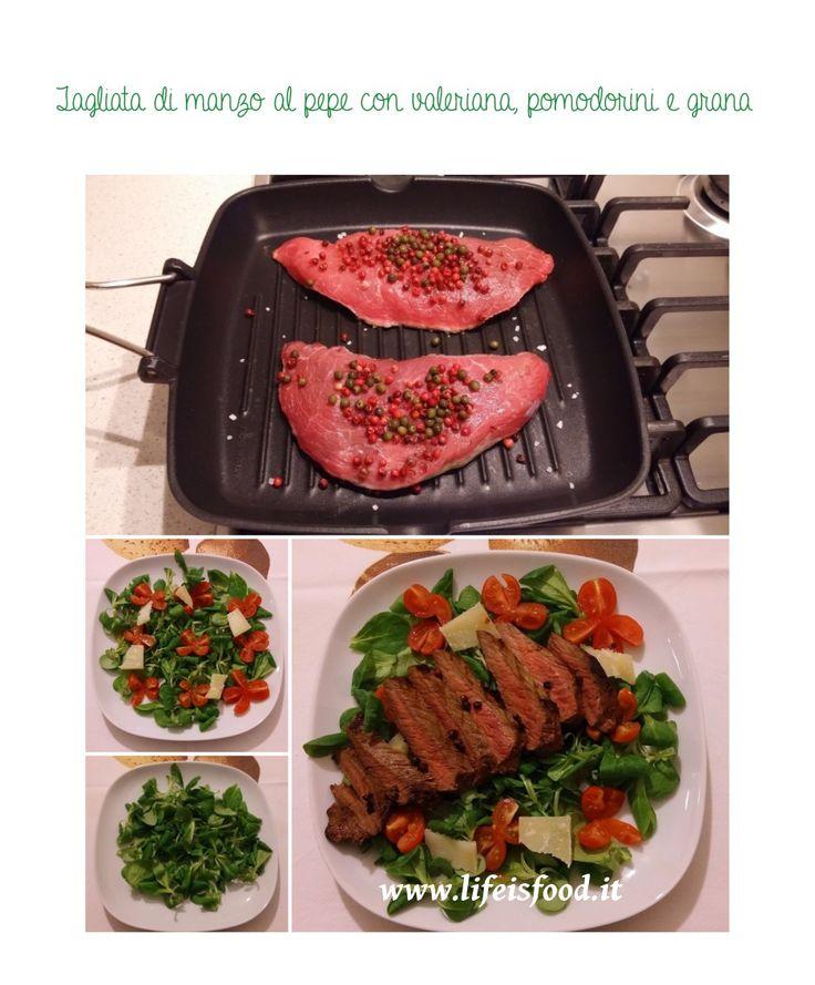 Tagliata di manzo al pepe con valeriana, pomodorini e grana