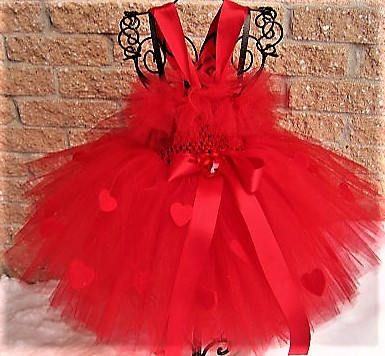 RED HEARTS PRINCESS  Red Tutu Dress  Flower Girl Gown