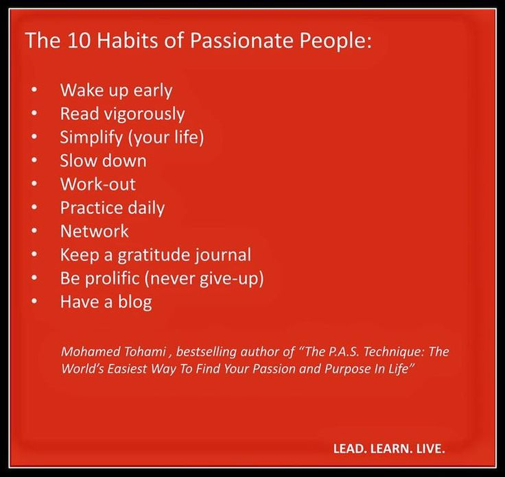 Habits of Passionate People
