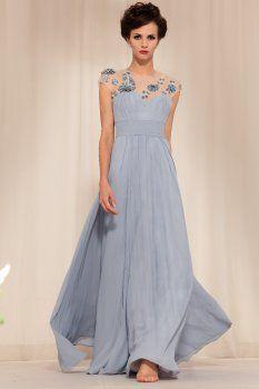 vente chaude capitalisation A-ligne manches grises abricot de robes de vêtements de cérémonie pour femmes