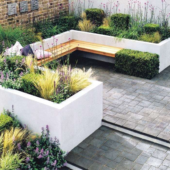 Contemporary patio layout for courtyard garden. Architectural plants give added…