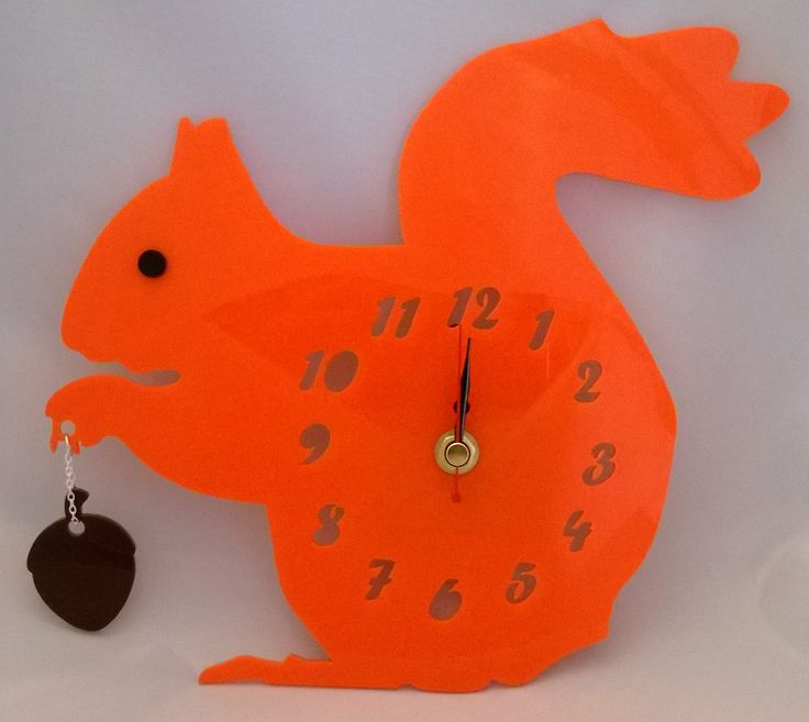 Handmade acrylic laser cut 'Hazel The Squirrel' clock Designed and laser cut in Pembrokeshire, South West Wales! https://www.facebook.com/PinkyBearDesigns     Pinky Bear Designs
