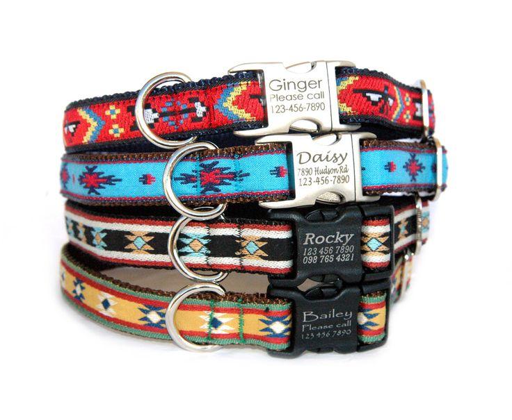 Engraved dog collar Personalized dog collar Metal buckle pet ID tag dog collar dog leash Navajo tribal Native American style dog collar by MaritynDog on Etsy https://www.etsy.com/listing/212509826/engraved-dog-collar-personalized-dog
