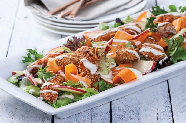 Spice up your menu with this feisty buffalo chicken salad.