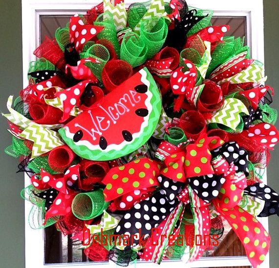 Front door wreath Watermelon wreath Summer by Debmarkcreations