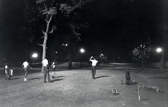 During the summer of 1954, Chicago NBC-affiliate WNBQ (now WMAQ-Channel 5) televised matches on 14 Tuesday nights. The format was limited, however, by the restrictions of the day's equipment. Golfers played just seven-hole matches, with the 18th green at Tam O'Shanter Country Club in Niles being the focal point.