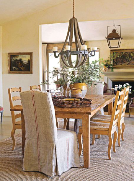 Love everything: Dining Rooms, Chairs Vignettes, Linens Slipcovers, Covers Chairs, Gathering Rooms, French Linens, Confit Jars, Dinning Rooms, Chairs Covers