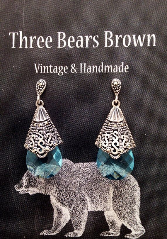 Sterling silver marcasite and blue crystal long by ThreeBearsBrown