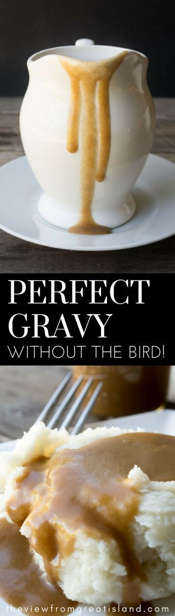 Perfect Gravy Without the Bird ~ an easy no drippings gravy recipe that you can make without roasting an entire turkey! This quick browned flour gravy will be your new best friend for the holidays and weeknight dinners all year long. #gravy #bestgravy #Thanksgiving #Christmas #nodrippingsgravy #brownedflour #pangravy #homemadegravy #easygravy #instantgravy