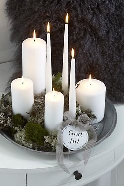tray of candles & greenery is all you need