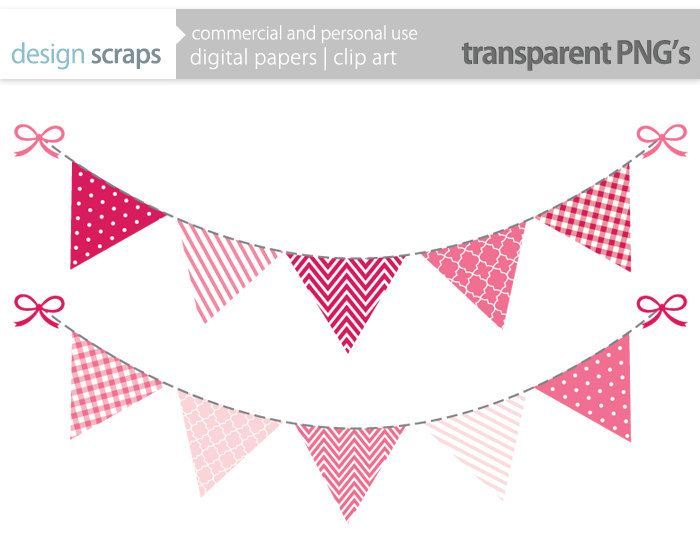 pink bunting banner clip art graphics, flag banner digital ...