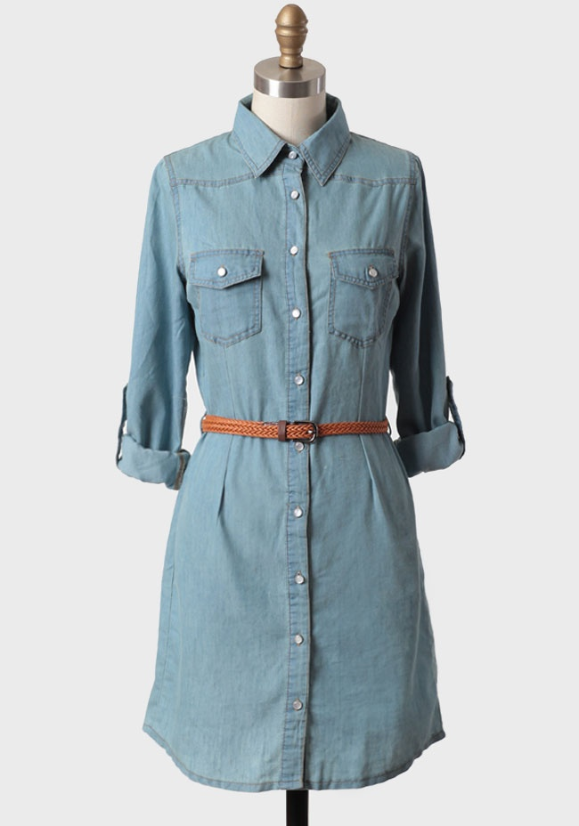 17 best images about denim on pinterest belt shirtdress for Belted chambray shirt dress