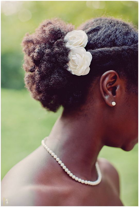 As @Joelle Carrion and @Rachelle Ayala can attest, their mom TRIED to give me pretty black girl hair, but I will just have to settle for reposting this pic of pretty hair =)  wedding day up-do for natural hair for african americans