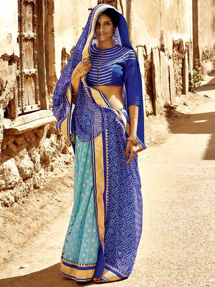 Exquisite #blue and #skyblue color chiffon and brasso bandhej #Saree. Item Code: SKDE3564 http://www.bharatplaza.com/new-arrivals/sarees.html