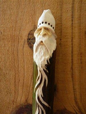 Wood spirit walking stick cane